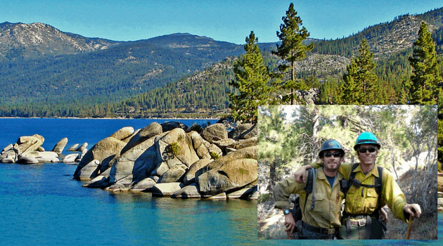 Landscape view of Lake Tahoe and surrounding forest behind a picture of Forest and his brother in wildland fire uniforms