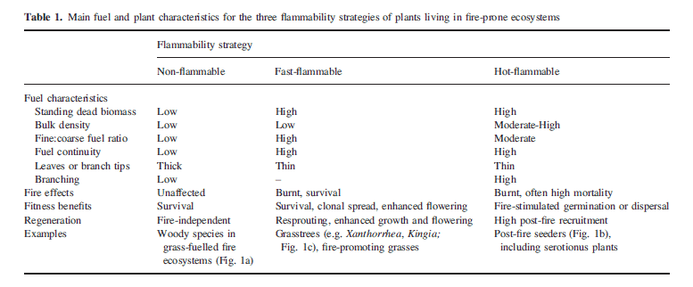 A table showing the relationship between flammability strategies (ranging from non-flammable to fast-flammable to hot-flammable) and fuel/plant characteristics
