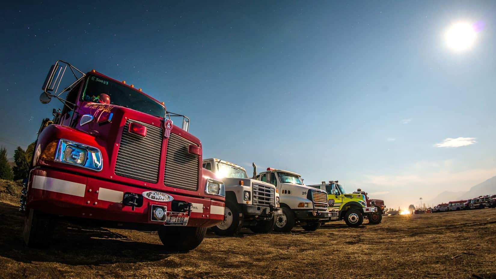 Different agencies' fire trucks