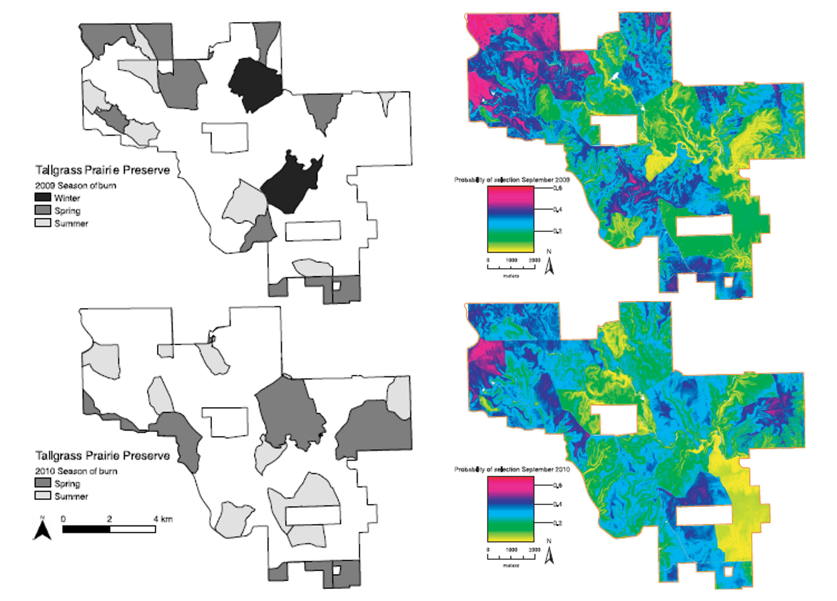 Side by side maps of Tallgrass Prairie Preserve, showing changes from 2009 to 2010