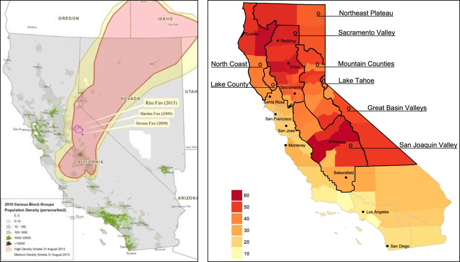 Two different maps of California showing smoke in different ways