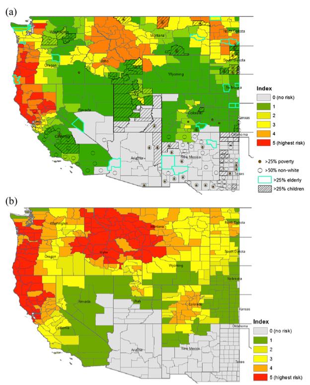 Two maps of the western United States, showing an increase in smoke risk over time