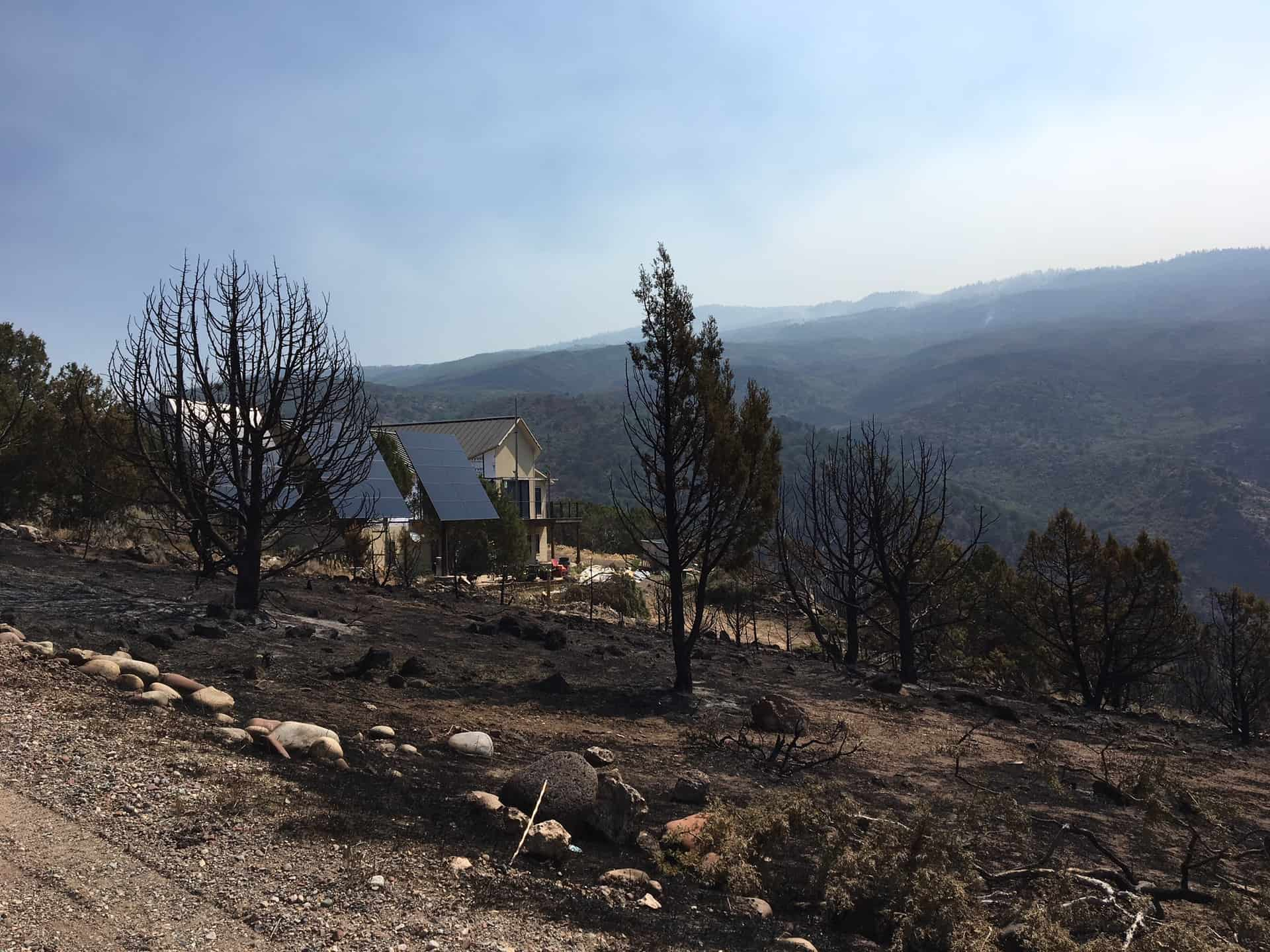 An undamaged home, buffered by defensible space and otherwise burnt vegetation