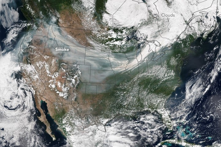 Aerial photo showing smoke spanning from California to the East Coast