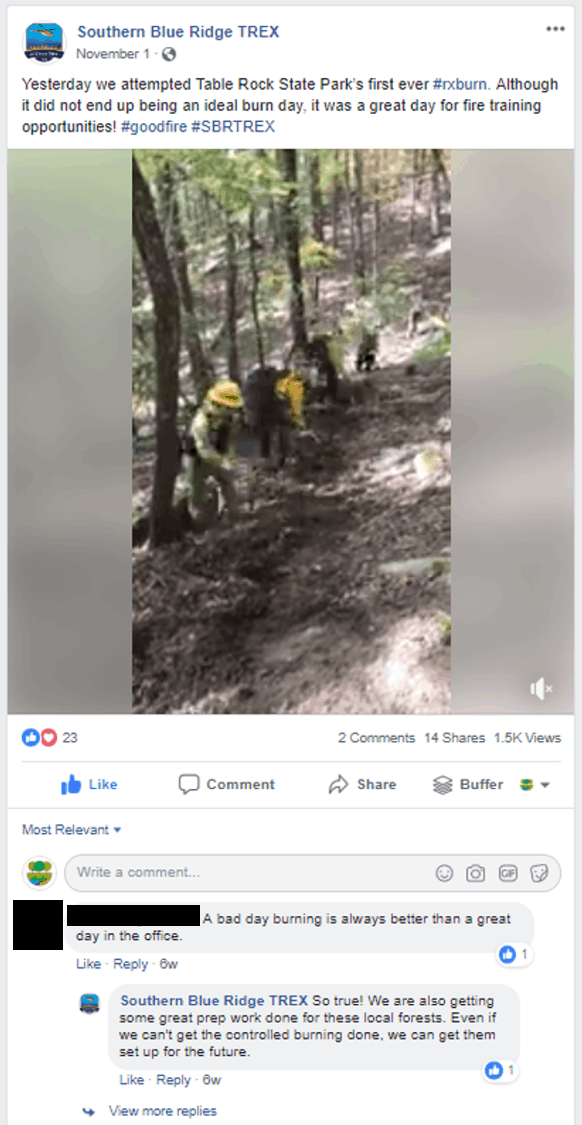 Screenshot of a SBR TREX video posted to Facebook, showing 23 reactions, 2 comments and 1.5 K views. Hyperlinked to actual post.