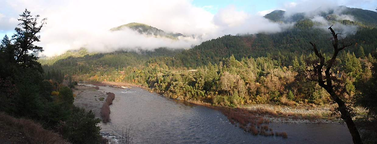 Landscape view of the Pearch Creek drainage across the Klamath River