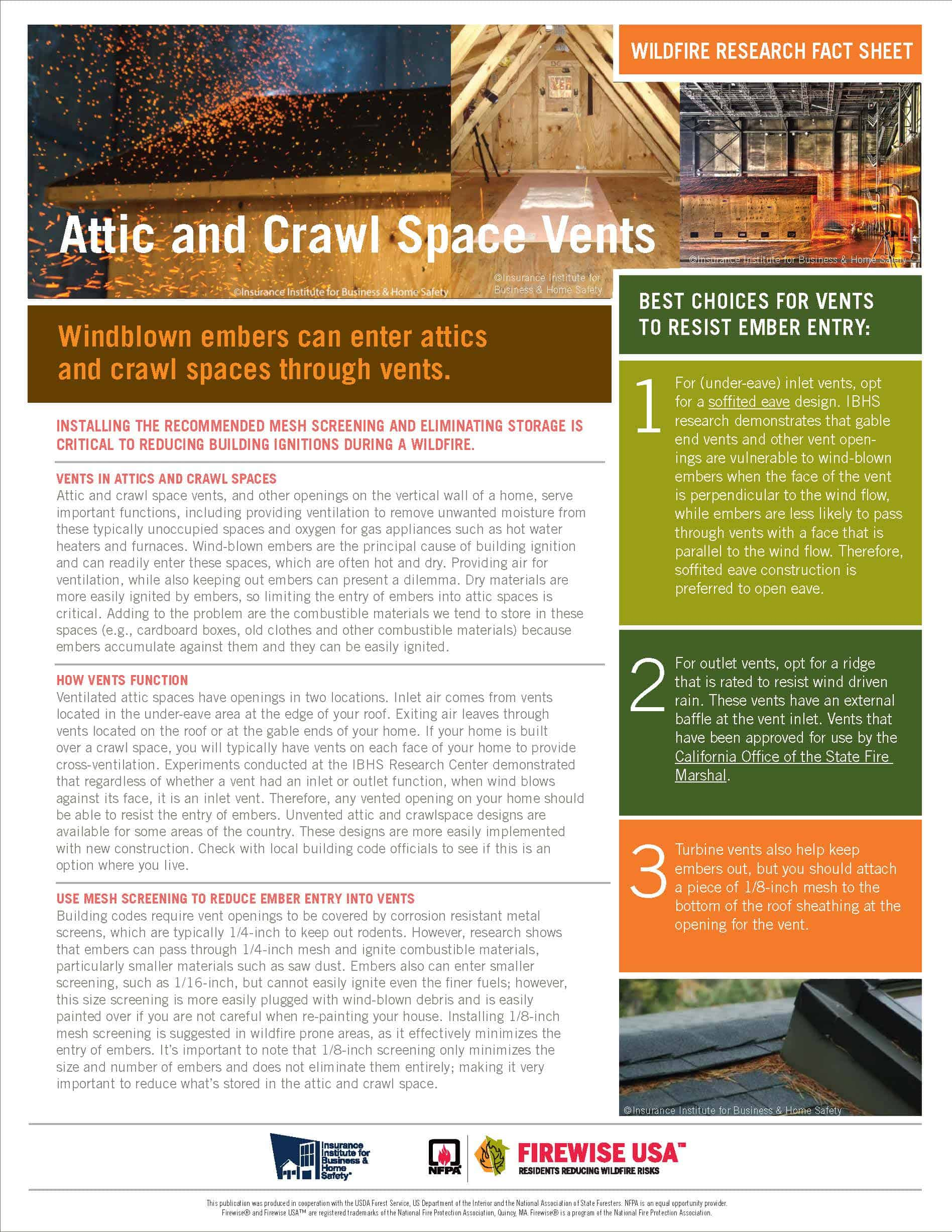 Screenshot of Attic and Crawl Space Vents fact sheet