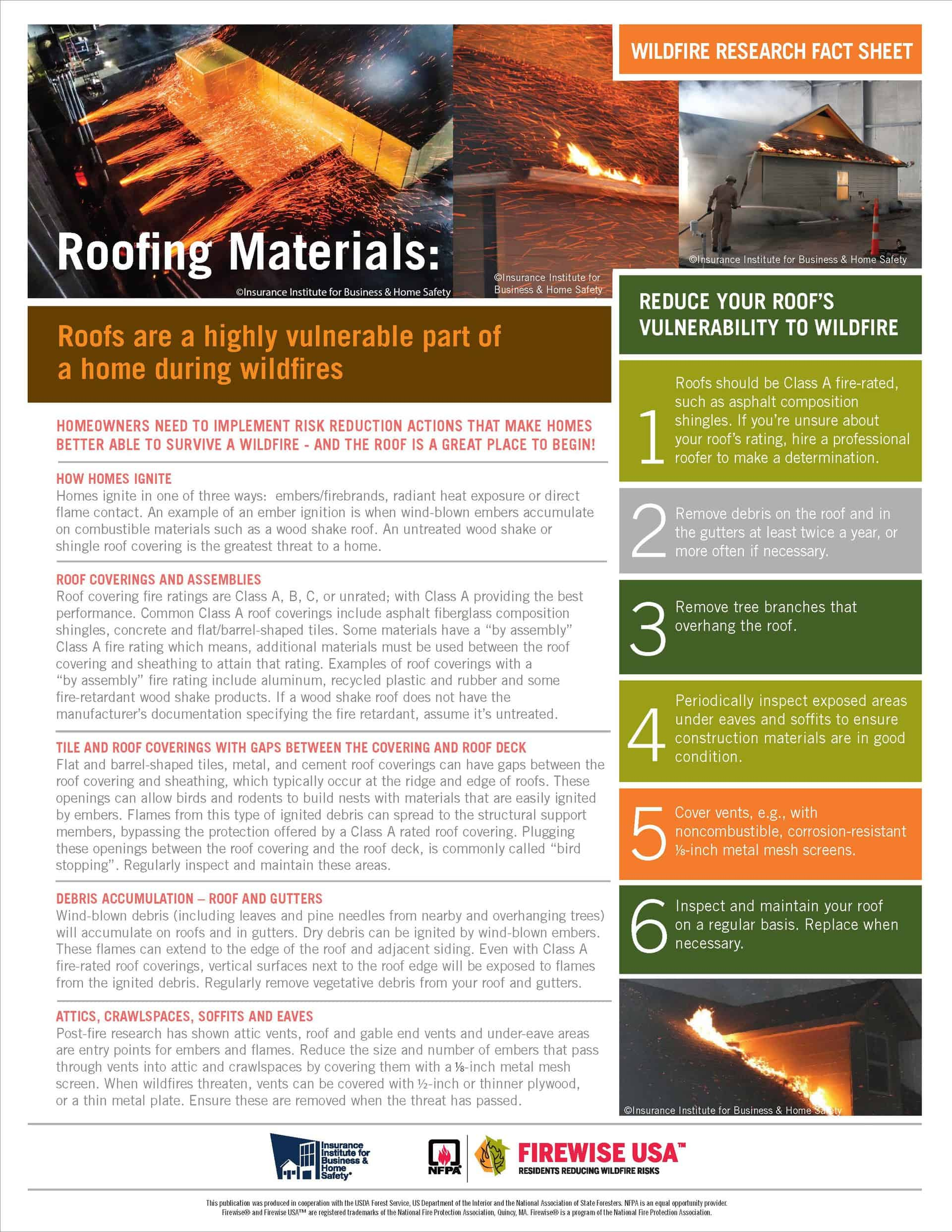 Screenshot of Roofing Materials fact sheet