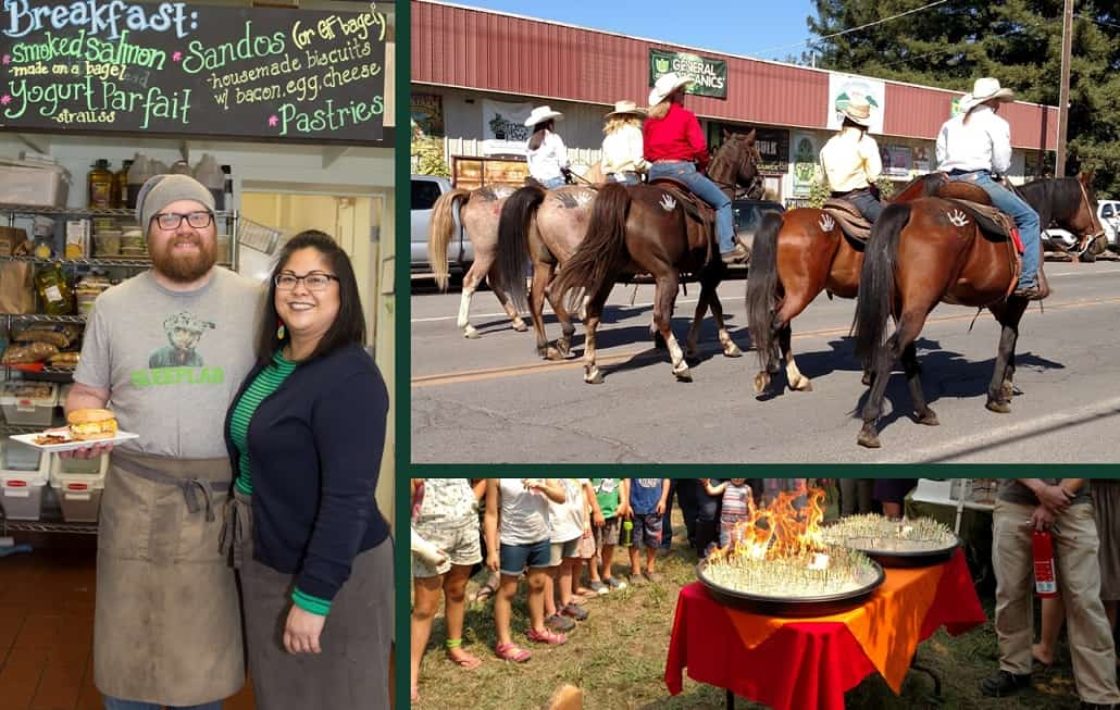 A collage of three photos that portrays the diversity of community assets Jana discovered: Two bakers, five people riding horses down a city street and children watching an educational display of several flaming matches