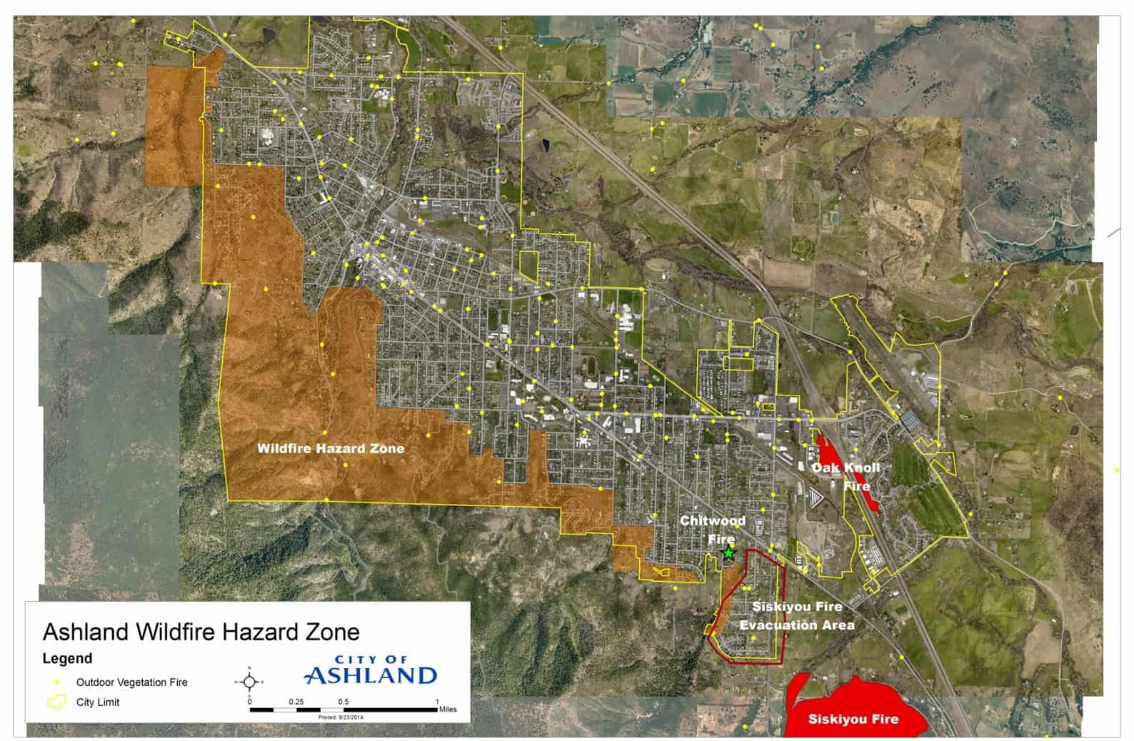 Map of Siskiyou Fire footprint, located southeast of the designated wildfire hazard area