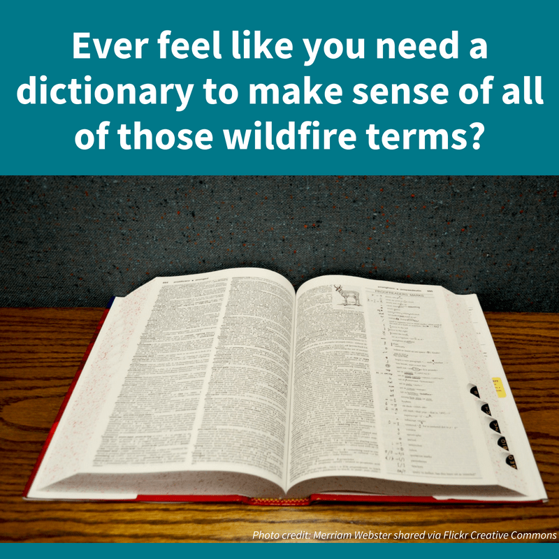"Picture of a dictionary, with the following text imposed: ""Ever feel like you need a dictionary to make sense of all of those wildfire terms?"""