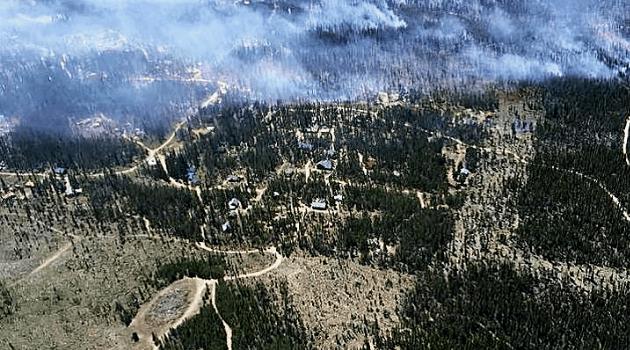 Aerial view of fuel breaks surrounding homes