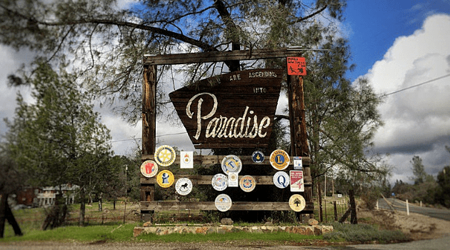 Paradise town sign, before the 2018 Camp Fire