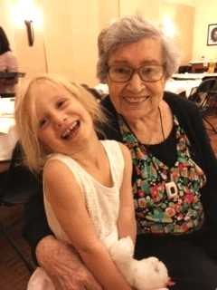 Great grandmother and great granddaughter