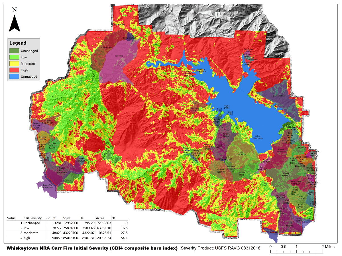 Map showing burn severity within Whiskeytown National Recreation Area