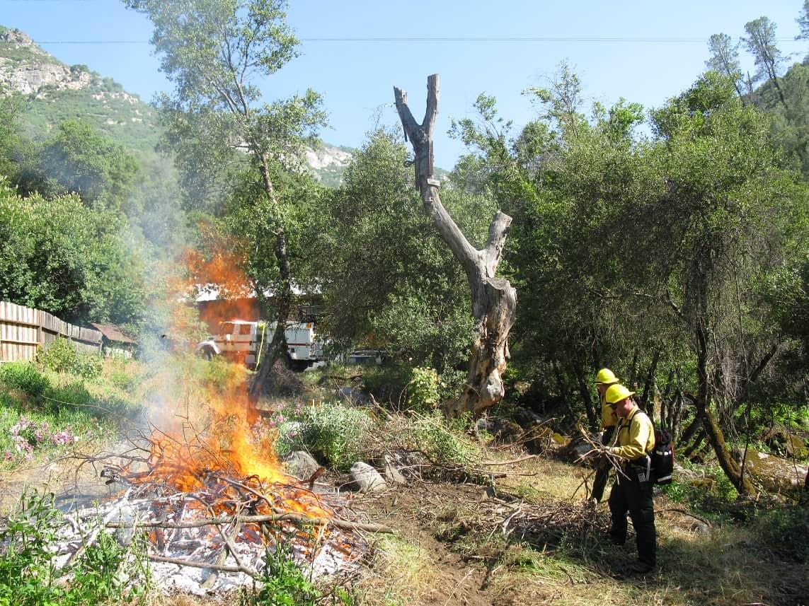 Pile burning near a home