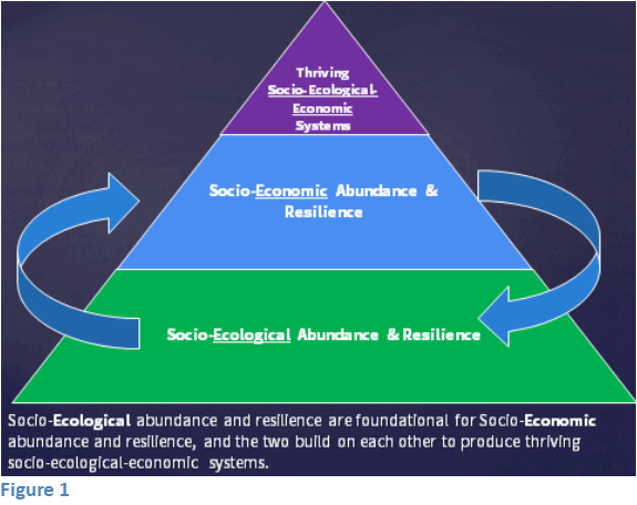 "A pyramid with ""socio-ecological abundance and resilience"" as the base, ""socio-economic abundance and resilience"" as the next level, and ""thriving socio-ecological-economic systems"" as the top"