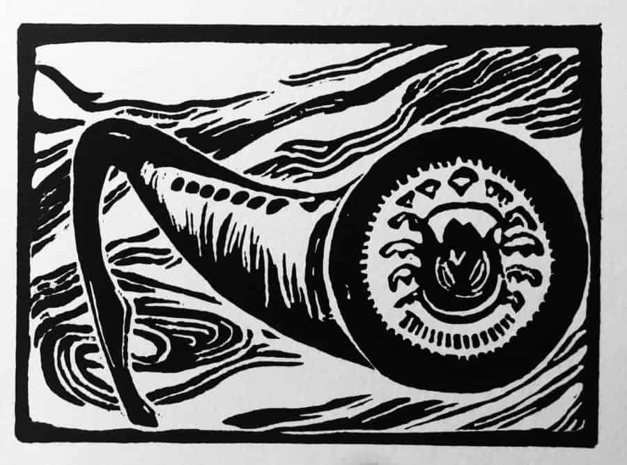 block print of Pacific lamprey