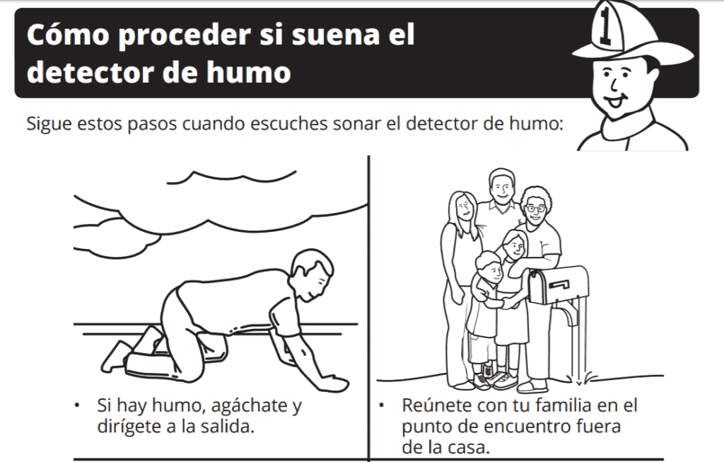 Fire Safety example activity in spanish