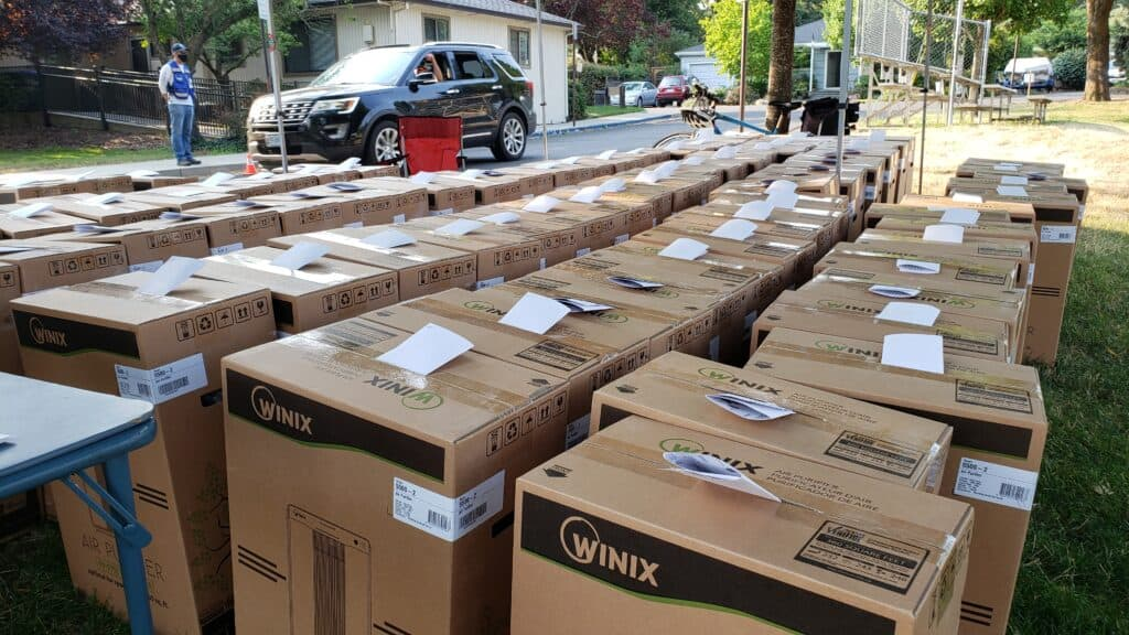 Boxes of air purifiers lined up