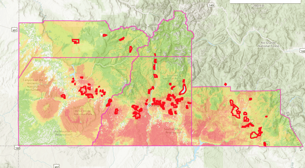 A screenshot of an interactive map of Southwest Colorado