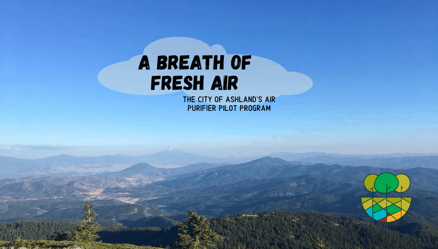 Aerial view of Ashland, OR with blog title overlaid