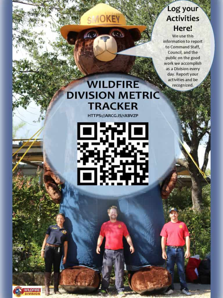 A flyer with Smokey with the bear and three men in front promoting the use of online maps