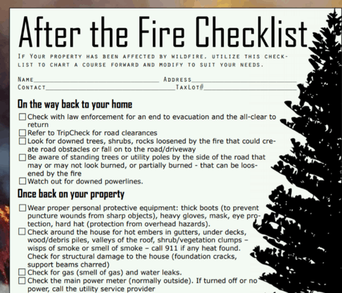 A text based checklist for After the Fire