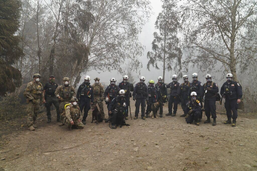 Crew of search and rescue workers and 3 dogs in the forest.