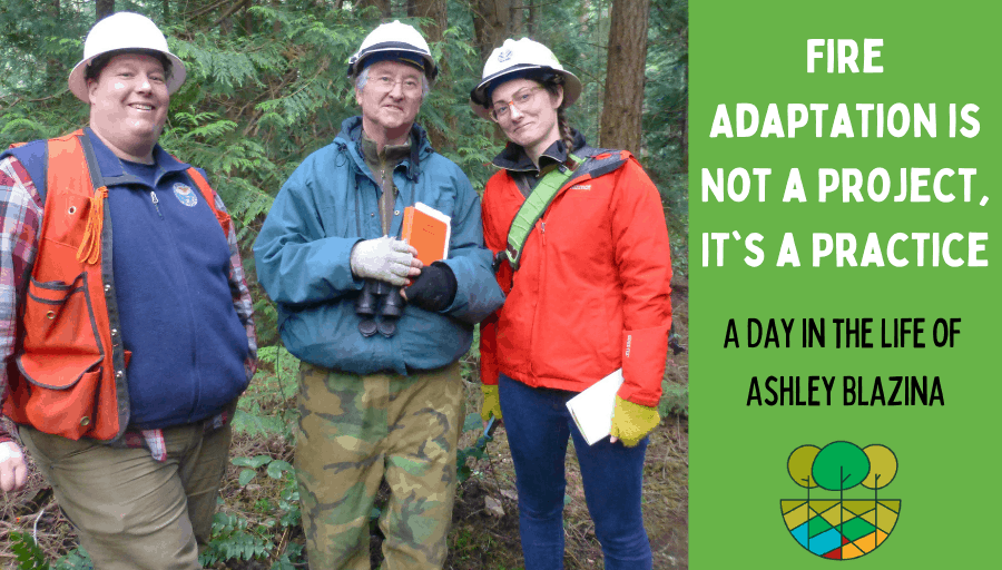 A group of people with hard hats in a forest and the blog title overlaid