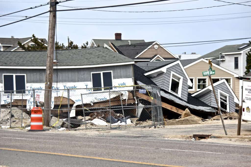 A house is damaged from Hurricane Sandy