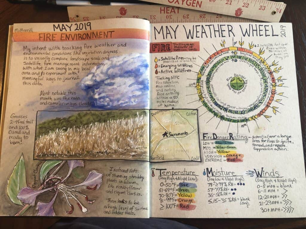 Drawings and text with title reading MAY WEATHER WHEEL