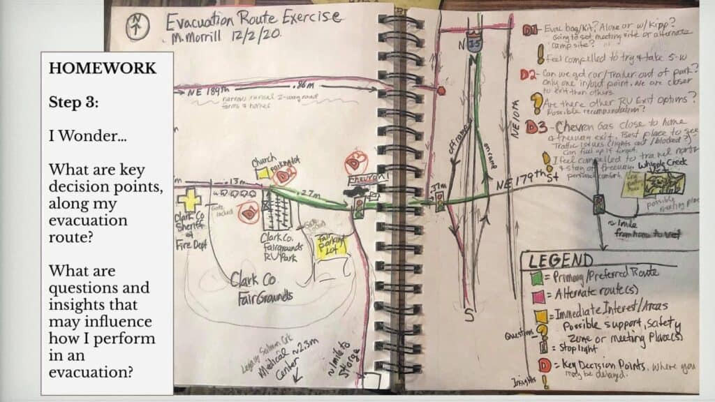 Drawing and text reading Evacuation Route ExercisePages from author's journal from the WAFAC journaling session during the December 2020 conference. Photo courtesy of Miriam Morrill.