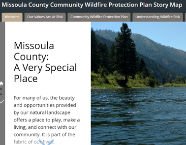 Screenshot of Missoula County Community Wildfire Protection Plan Story Map