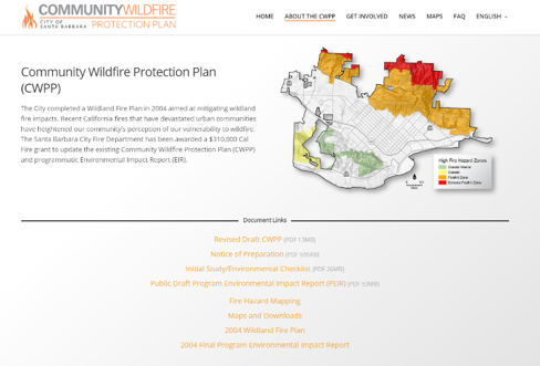 A screenshot from the Community Wildfire Protection Plan in the City of Santa Barbara
