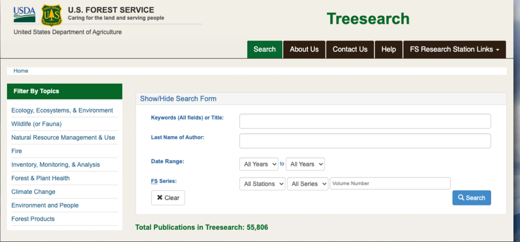 Screenshot of the search menu for Treesearch