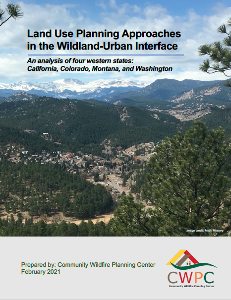 """The cover of a report entitled """"Land Use Planning Approaches in the Wildland-Urban Interface"""" with a photo of a valley with a town and mountains beyond"""
