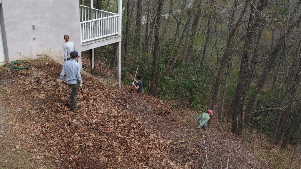 Four people with rakes and hand tools work alongside a house on a hillside clearing brush and leaves