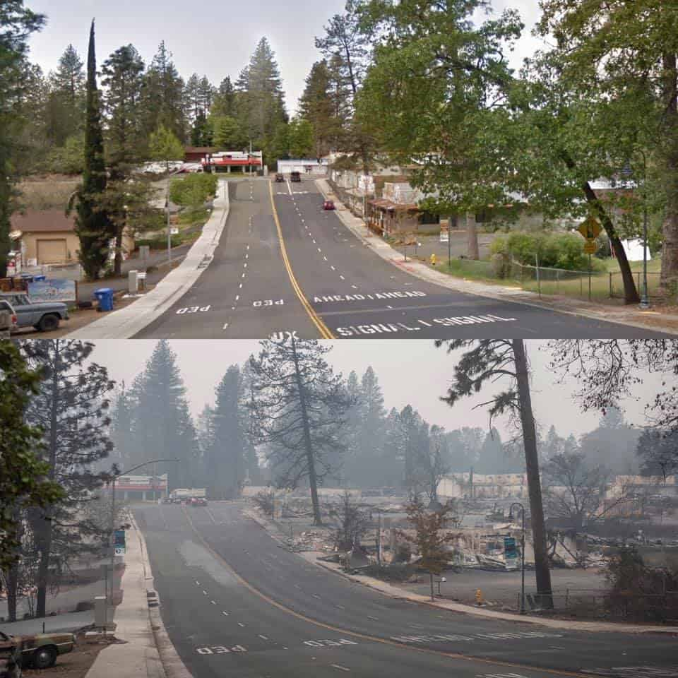 two photos one over the other top one shows a road way with trees, bottom shows same roadway after fire with smoke and scorched trees