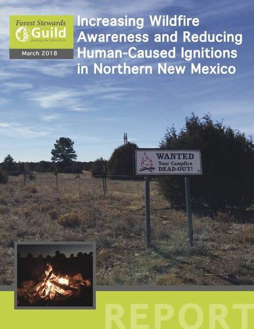 """Cover of a report entitled """"Increasing Wildfire Awareness and Reducing Human-Caused Ignitions in Northern New Mexico"""""""