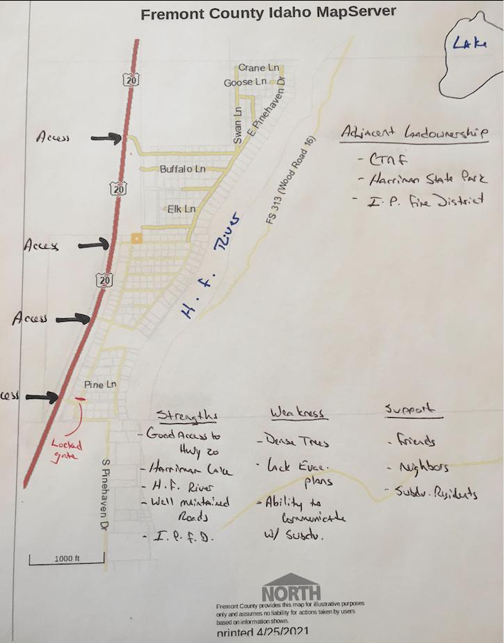 a handrawn evacuation map