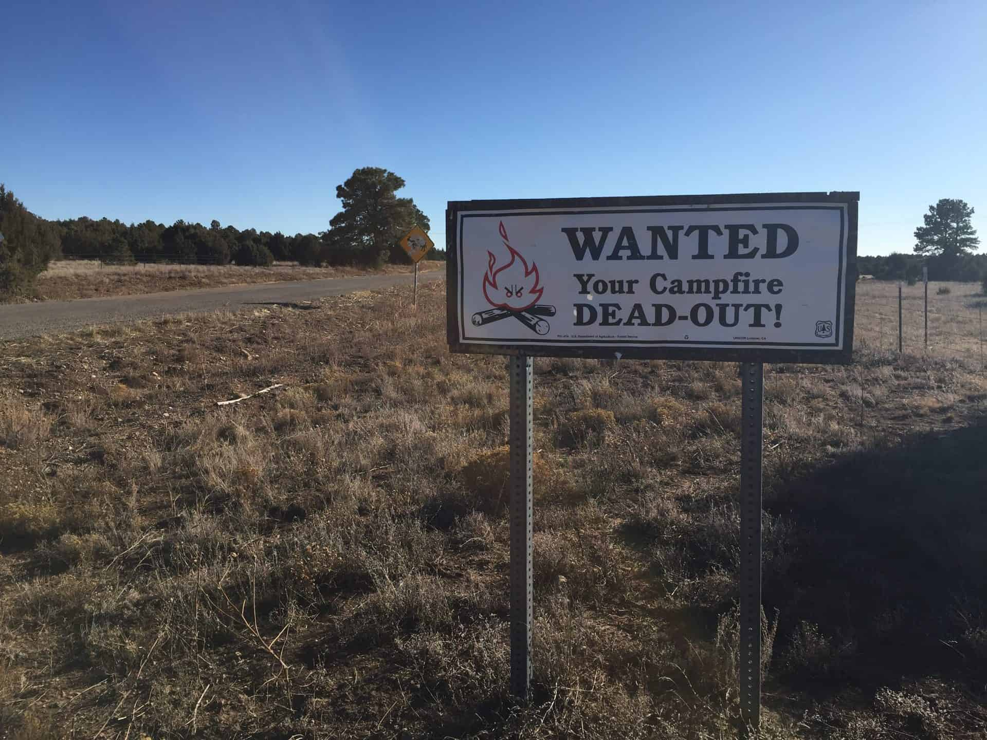 """A sign reading """"Wanted Your Campfire Deadout"""" on grassland next to a road"""