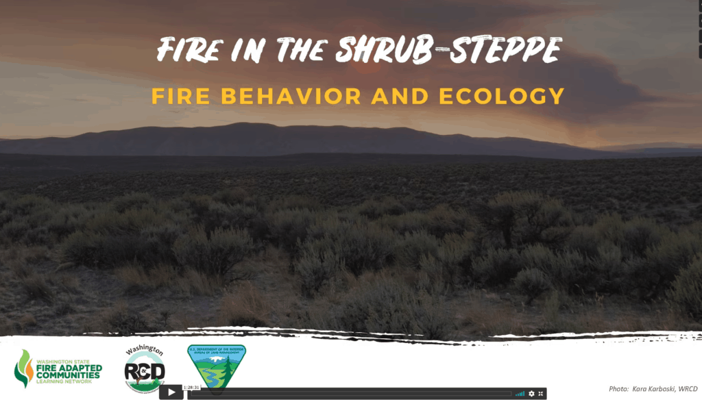 """Screenshot of a video for the webinar series entitled: """"Fire in the Shrub-Steppe: Fire Behavior and Ecology"""""""
