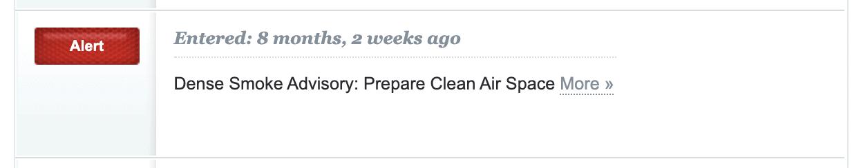 A screenshot of an alert from a community alert system.