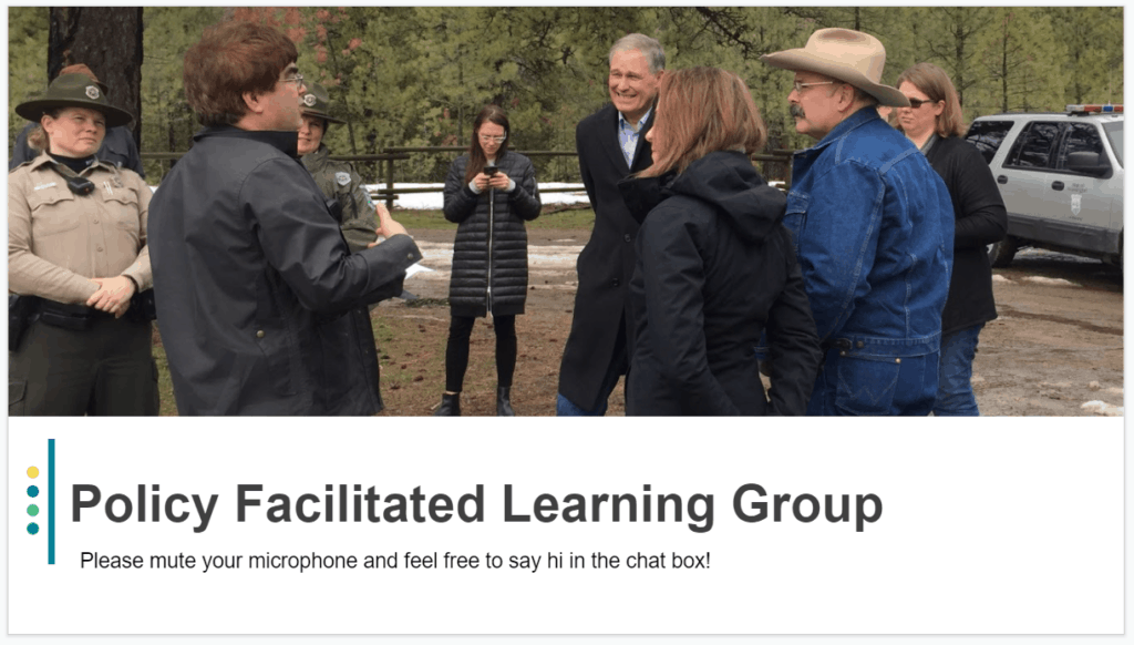 photo of people standing in a circle outside. Screen grab of the welcome slide for the learning group.