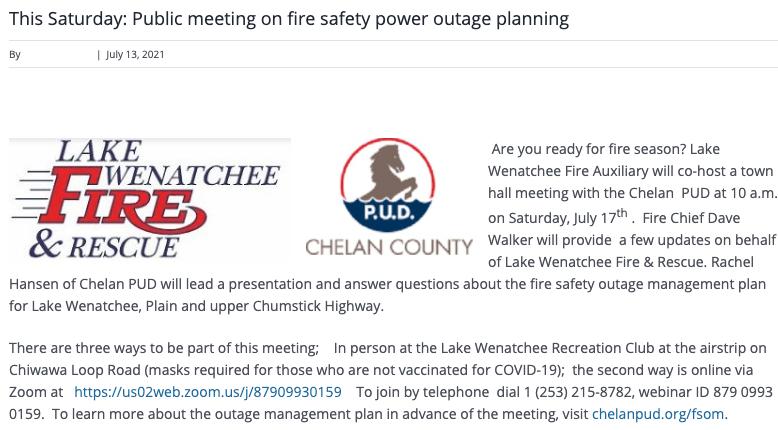 A screenshot from a website announcing a public meeting