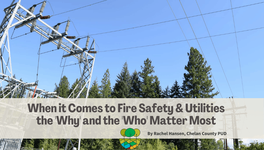 """Photo of high tension powerlines outside among pine trees with the blog title reading """"When it Comes to Fire Safety and Utilities the Why and the Who Matter Most"""""""