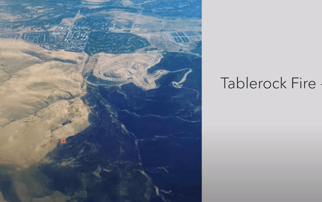 Image on the left shows an aerial view of land and foothills with burn scars on the bottom right